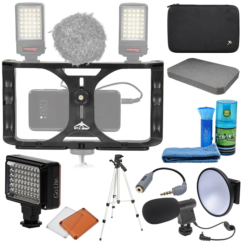 GTX ユニバーサルスマートフォンスタビライザーマウントビデオリグ マイク付き + LEDライト&ディフューザーディッシュ + カスタムフォームケース + 三脚+キット   B07J1ZBDB9