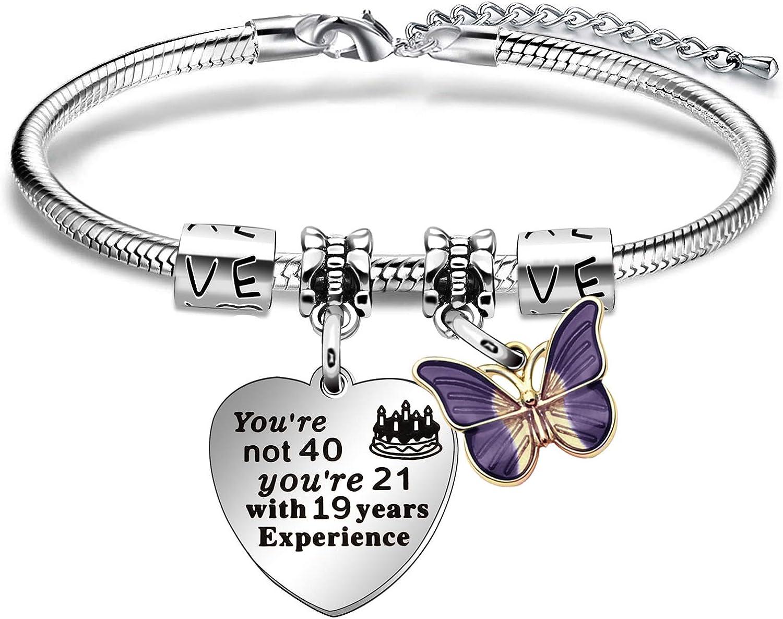 ACAROMAY Pulsera de 40 cumpleaños con diseño de mariposa, para mujer de los años 40, regalo de cumpleaños para mamá, hermanas, amigas, tía