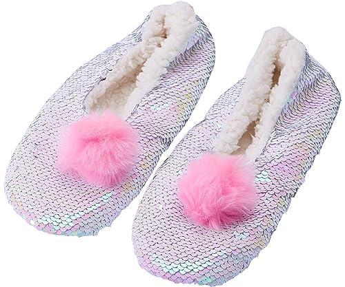 60065ddb58d8 Womens Cozy Fuzzy Reversible Sequin Slipper Socks Girls Indoor Bling Bootie  Slippers Warm Fleece-Lined Indoor Non-Slip Magic Sequin Slipper Boots  Valentine ...