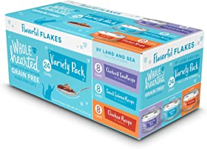 WholeHearted Grain Free by Land and Sea Flaked Wet Cat Food Variety Pack for All Life Stages, 2.8 oz., Count of 24, 24 CT