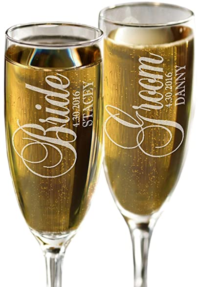 Bride And Groom Personalized Set Of 2 Champagne Flutes Celebration Glasses For Newlyweds Custom
