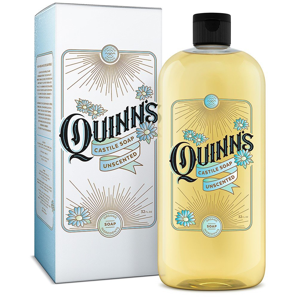 Quinn's Pure Castile Organic Liquid Soap, 32 ounce (Unscented) by Quinn's Cosmetic
