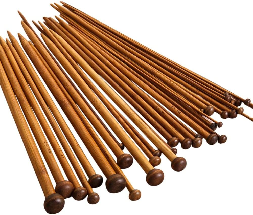 36pcs 18 Size Carbonize Bamboo Single Pointed Crochet Knitting Needles