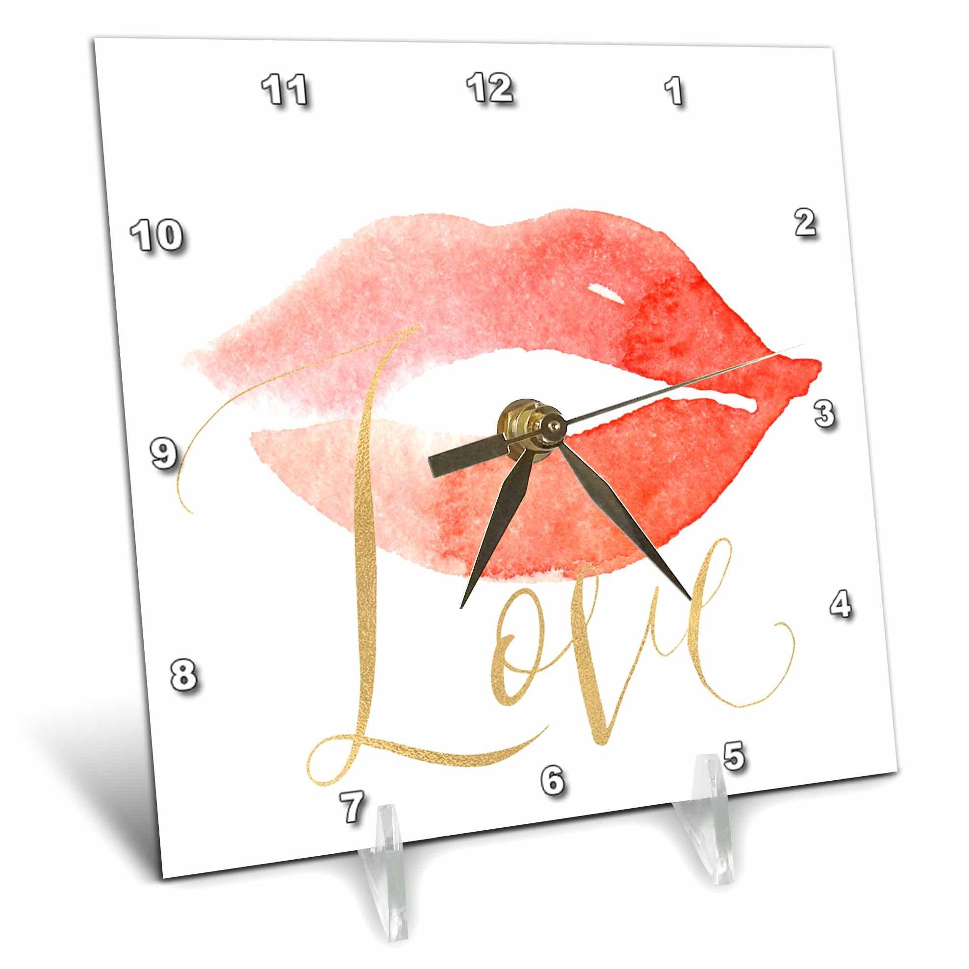 3dRose PS Inspiration - Gold Love Red Lips Kiss - 6x6 Desk Clock (dc_280667_1)
