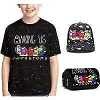 Queenromen Kids 3D Among Us T Shirt Baseball Cap Estuche para Estudiantes Niños Niñas, Juego de 3 piezas