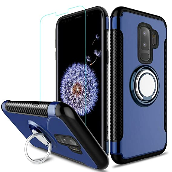 new concept 84048 5d7b5 Galaxy S9 Plus Case, ZHFLY [ Heavy Duty ] Armor Hybrid Case with 360  Rotation Ring Holder Magnetic Kickstand with Tempered Glass for Samsung  Galaxy S9 ...
