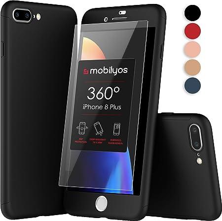 Mobilyos Cover 360 iPhone 8 Plus - Custodia 360 Gradi Fronte e Retro con Pellicola Vetro Temperato per Apple iPhone 8 Plus - Full Body Cover iPhone 8 ...