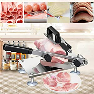 Food Slicer Kitchen Meat Slicer Bread Cheese Fruit & Vegetable Manual Frozen Meat Slicer Stainless Beef Cutter Cutter Machine
