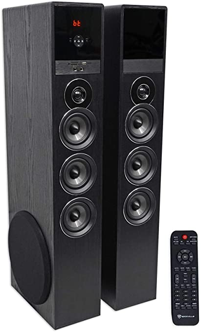 Amazon Com Rockville Tm150b Black Home Theater System Tower Speakers 10 Sub Blueooth Usb Home Audio Theater