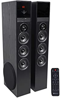 Rockville TM150B Black Home Theater System Tower Speakers 10 Sub Blueooth USB