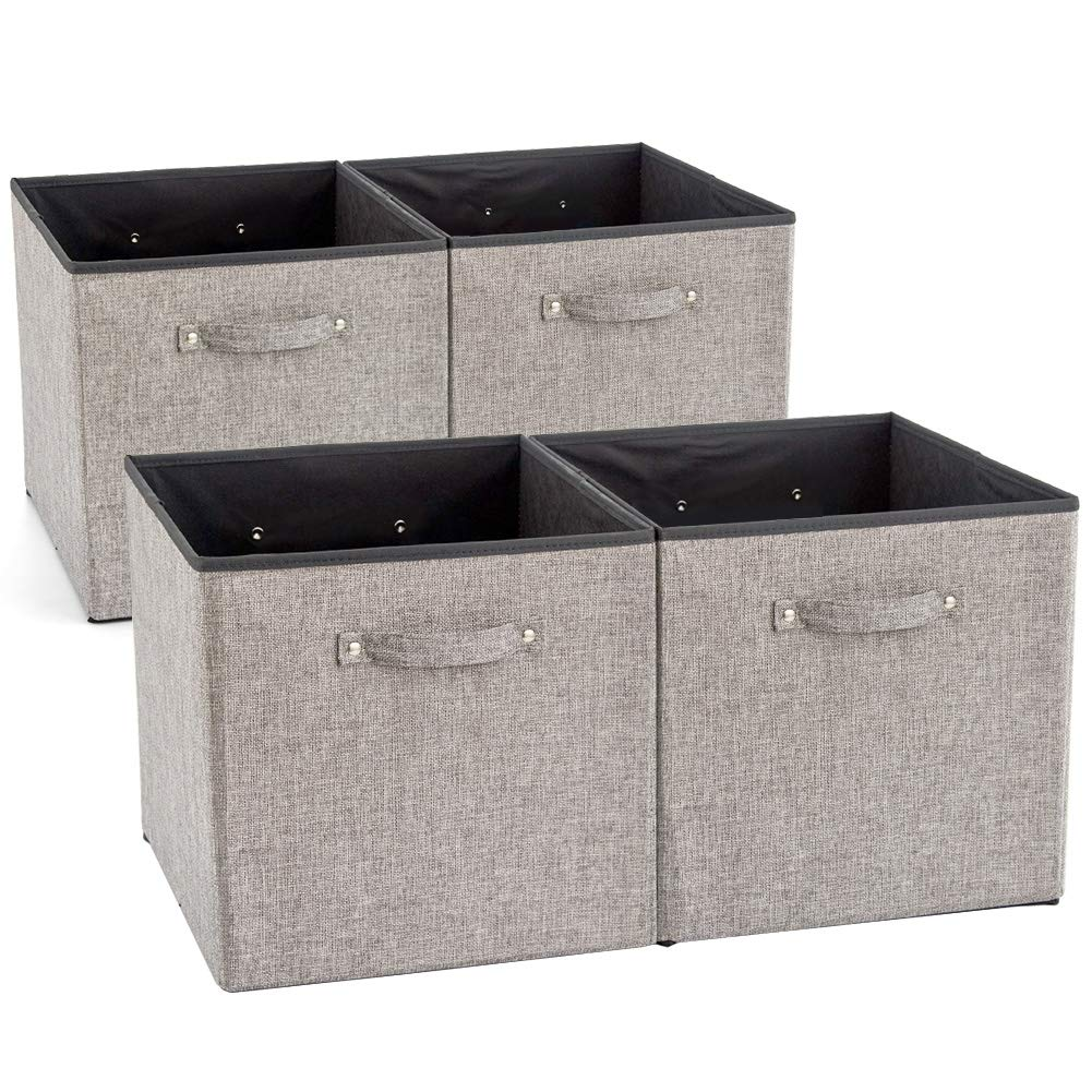 EZOWare 4 Pack Fabric Foldable Cubes Bin Organizer Container with Handles for Nursery, Closet, Office, Home - Gray (13 x 15 x 13 inch) by EZOWare