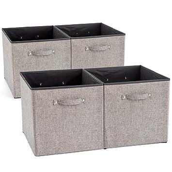 EZOWare 4 pcs Cajas de Almacenaje, Cubos Decorativos de Tela con Manijas para Ropa,