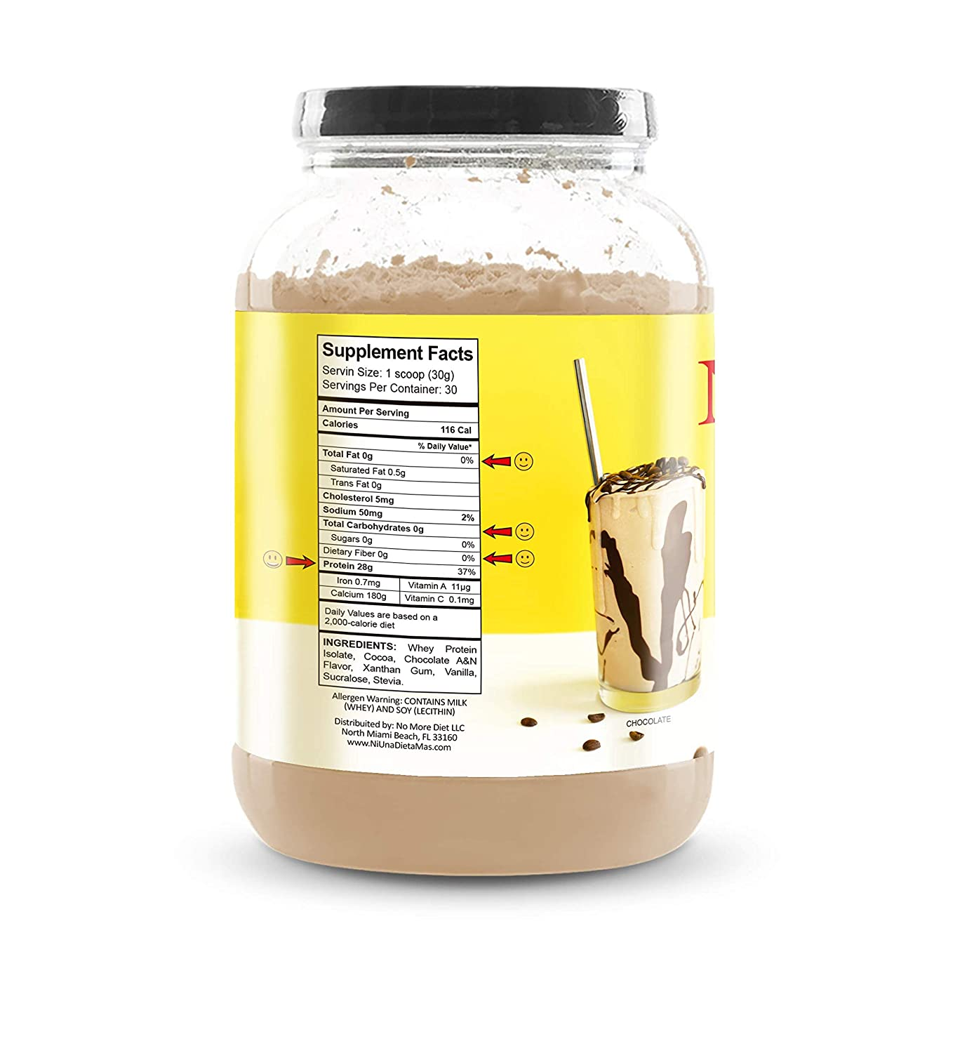 Amazon.com: NI UNA DIETA MAS - Whey Protein Isolate (Delicious Chocolate) No sugar, No Lactose, Easy to Mix: Health & Personal Care