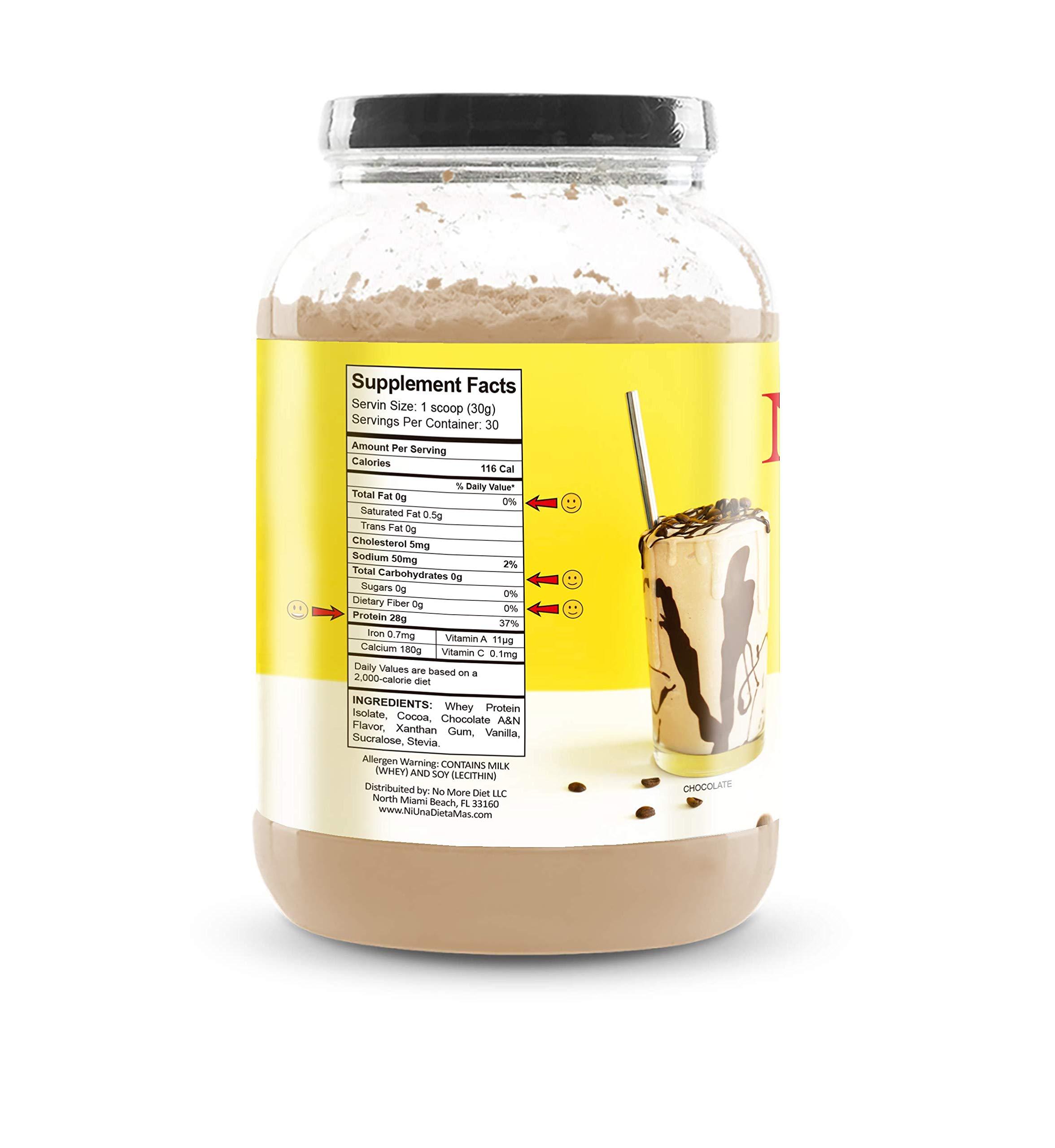 NI UNA DIETA MAS - Whey Protein Isolate (Delicious Chocolate) No Sugar, No Lactose, Easy to Mix by Ni una dieta más (Image #2)
