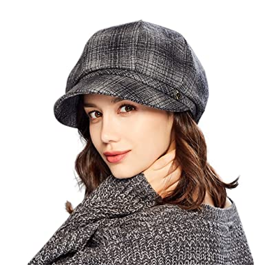 b38a41bc9b8 Kenmont Womens Newsboy Cabbie Beret Cap With Visor Vintage Style Wool  Cloche Hat Outdoor Slouchy Snow