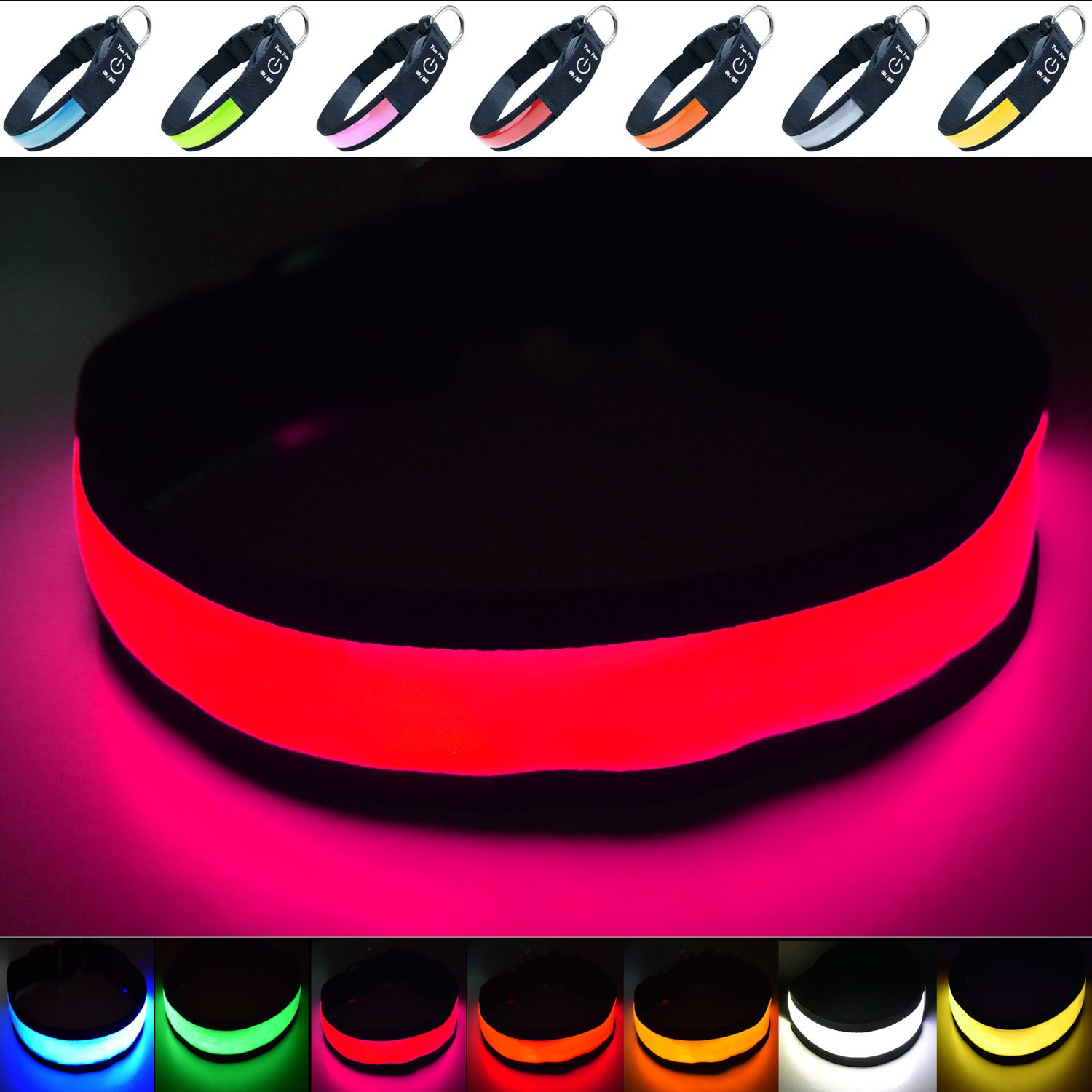 Pink (Small ( 30cm 40cm   11.8\ Pink (Small ( 30cm 40cm   11.8\ Fun Pets Super Bright USB Rechargeable LED Dog Safety Collar ((Small (30cm 40cm   11.8  15.7 ), Pink)