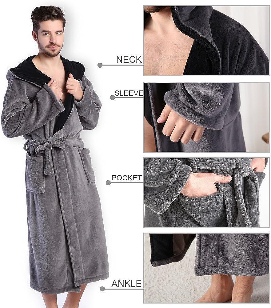 Hooded Herringbone Mens Gray Soft Spa Full Length Bathrobe Black Kimono Shawl Collar