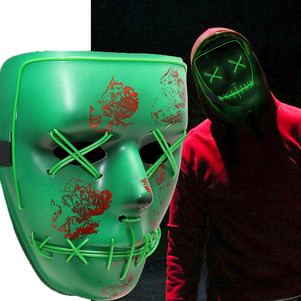 Supmaker Halloween Scary Mask Cosplay Led Costume Mask EL Wire Light up Purge Mask for Halloween Festival Party Green Flash Mask