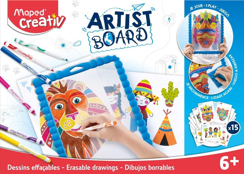 MAPED Creativ - Kit Dessins Effaçables'Tour du Monde' - Loisirs Créatifs enfants - Ardoise transparente