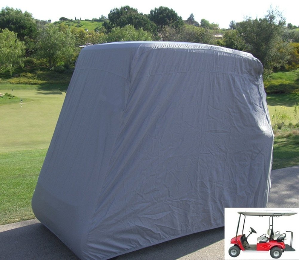 FLYMEI 4 Passenger Waterproof Golf Cart Cover Fits EZ GO Club Car Yamaha Golf Carts (Grey)