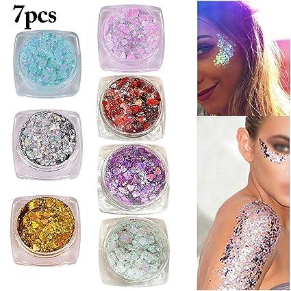 Brillo Para la Cara, Kapmore 7 Cajas Brillo para las Uñas Brillo Decorativo Nail Art