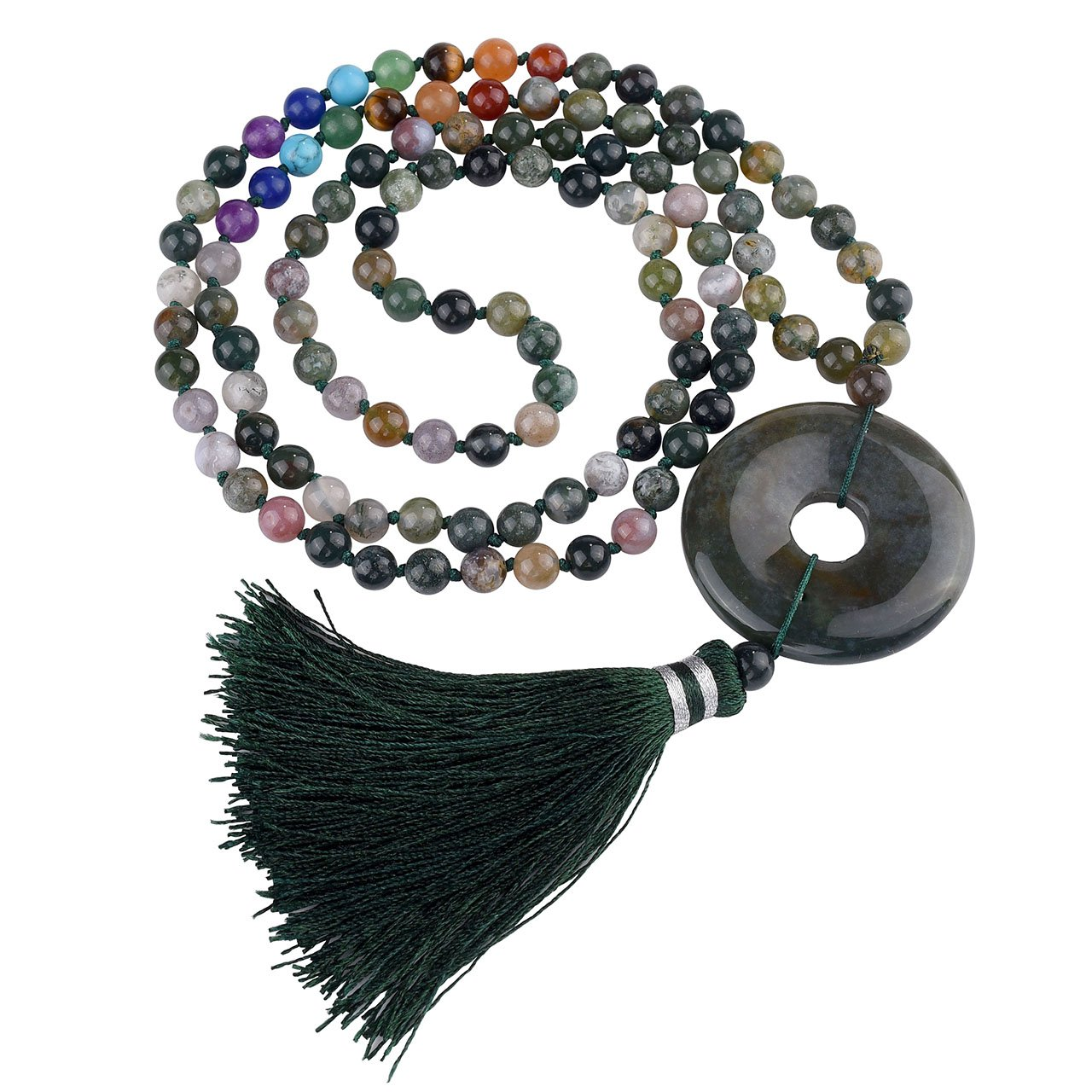 JOVIVI 6mm Moss Agate Gemstones 108 Buddhist Prayer Beads 7 Chakra Multilayer Mala Beads Donut Tassel Bracelet Necklace