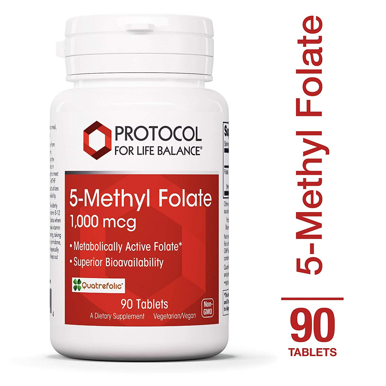 Protocol For Life Balance – 5-Methyl Folate 1,000 mcg – Metabolically Active Folic Acid 5-MTHF – Supports Brain, Heart, Nerve Health, Helps Improve Immune System, Healthy Pregnancy – 90 Tablets
