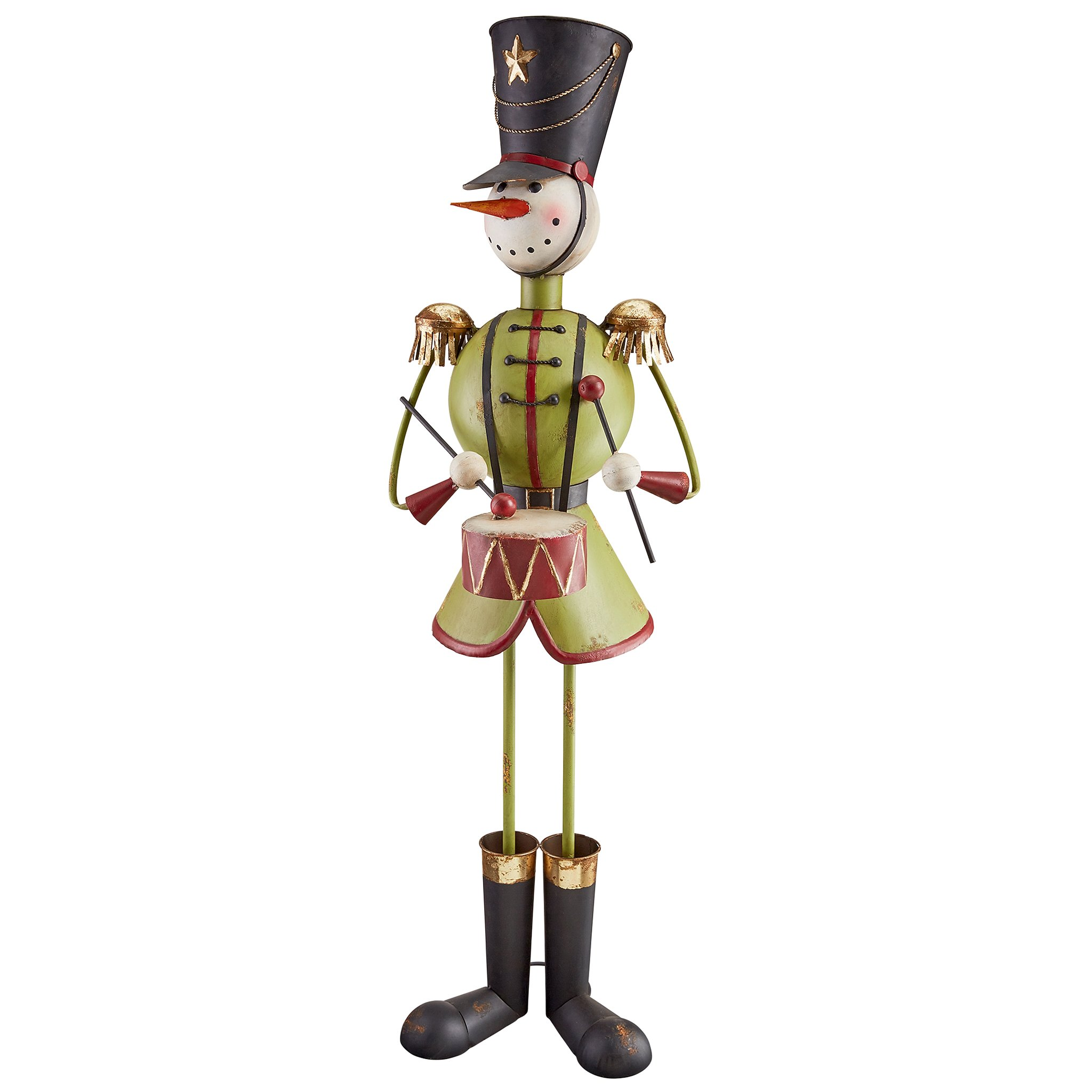 Christmas Decorations - North Pole Snowman Band Metal Holiday Decor Statue: Drummer Boy