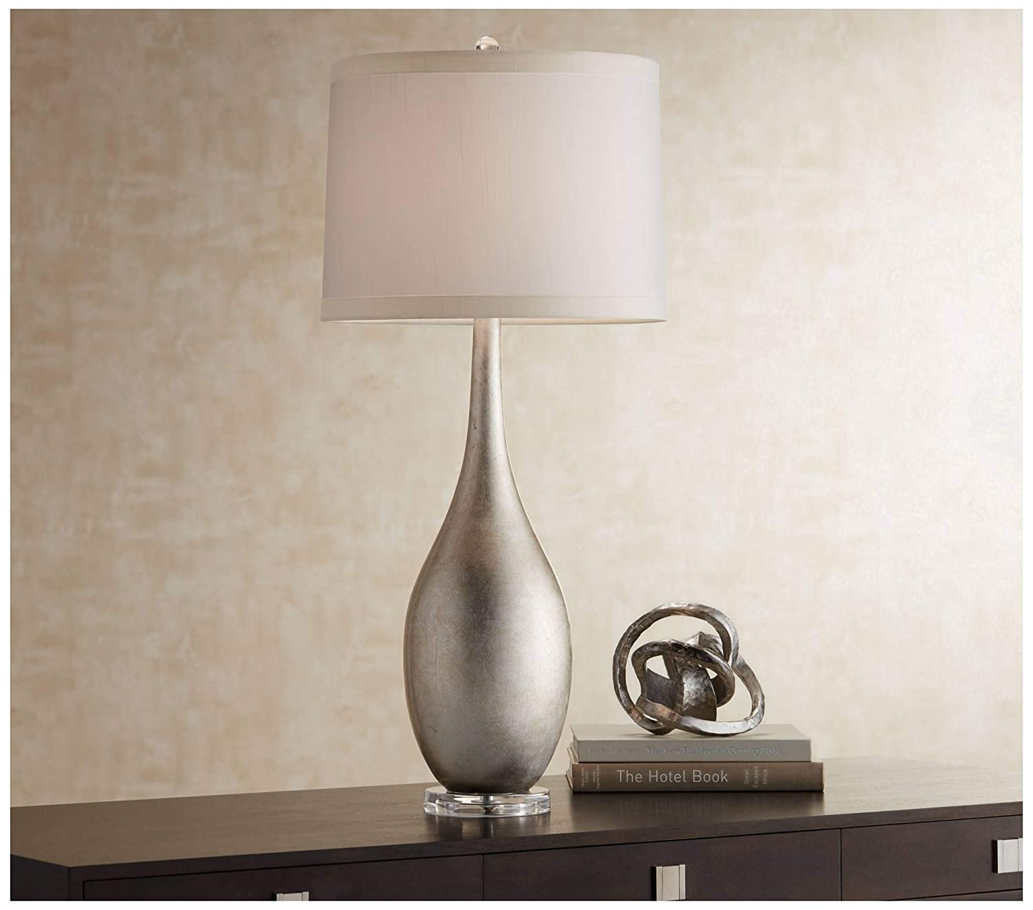 Amazon.com & Modern Buffet Console Table Lamp Silver Leaf Vase Off White Drum Shade for Dining Room - Possini Euro Design