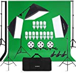 Andoer Photography Studio Lighting Kit and 6.6ft x 10ft Background Support