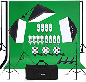 Andoer Photography Studio Lighting Kit and 6.6ft x 10ft Background Support System, Including 3pcs Backdrops(White/Black/Green) Screen with 3 pcs 20x28 Inch Softbox for Video, Portrait, Product Shoot