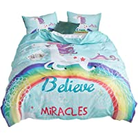 ADASMILE A & S Unicorn Bedding Rainbow Girls Duvet Covers Set Cartoon Cute 3 Piece Bedding for Teens,Full Size