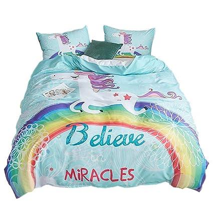 . ADASMILE A   S Unicorn Bedding Sets Kids Rainbow Duvet Covers Set 3 Piece  Mint Green Cartoon Cute Horse Bed Set for Girls Teens Queen Size