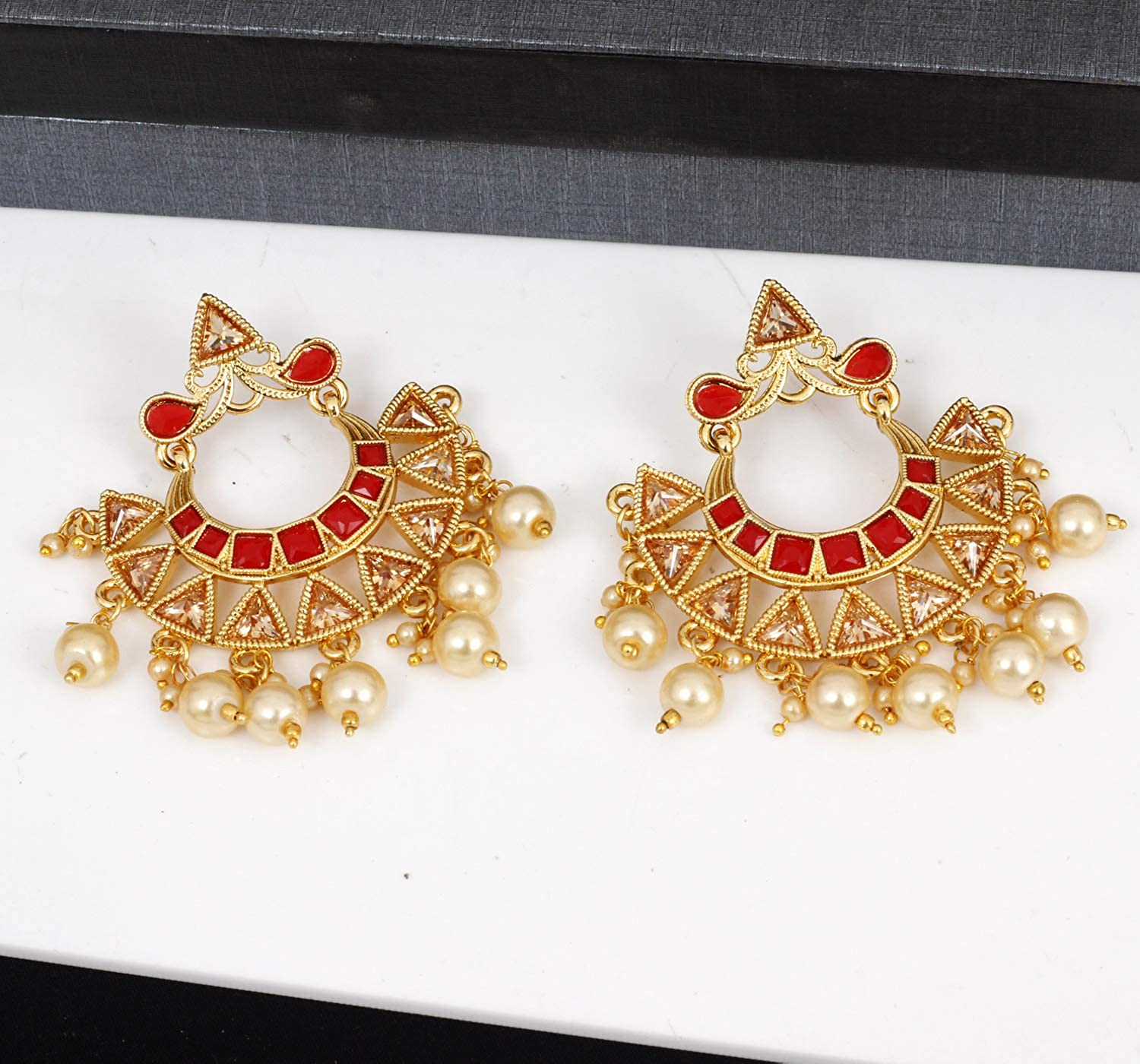 Ratna Creation Indian Bollywood Pearl Dangle Drop Exclusive Gold Tone Traditional Polki Earrings Set Jewellery