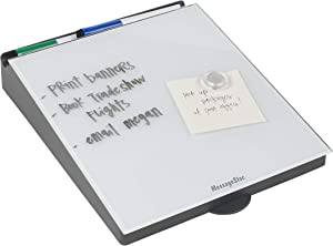 MessageStor Glass Board Memo Station, 10 in x 12.5 in Glass Dry-Erase Surface, Whiteboard Angled Desktop Pad with Accessory Storage and Built-In Smart Phone Charger Organizer