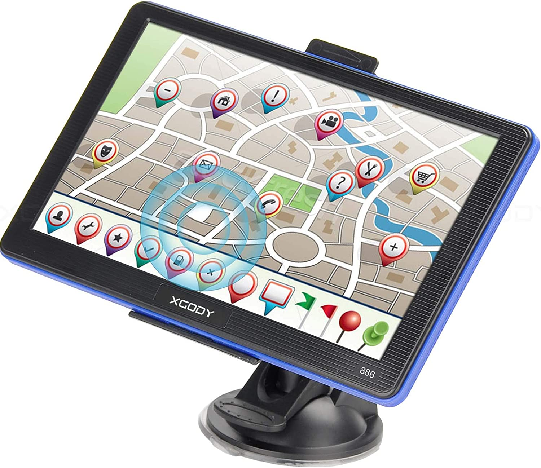 Xgody 886 - Sistema de navegación GPS para camión, Pantalla táctil capacitiva de 7 Pulgadas, navegador Sat Nav para Coche con mapas de por Vida actualizados de EE. UU.