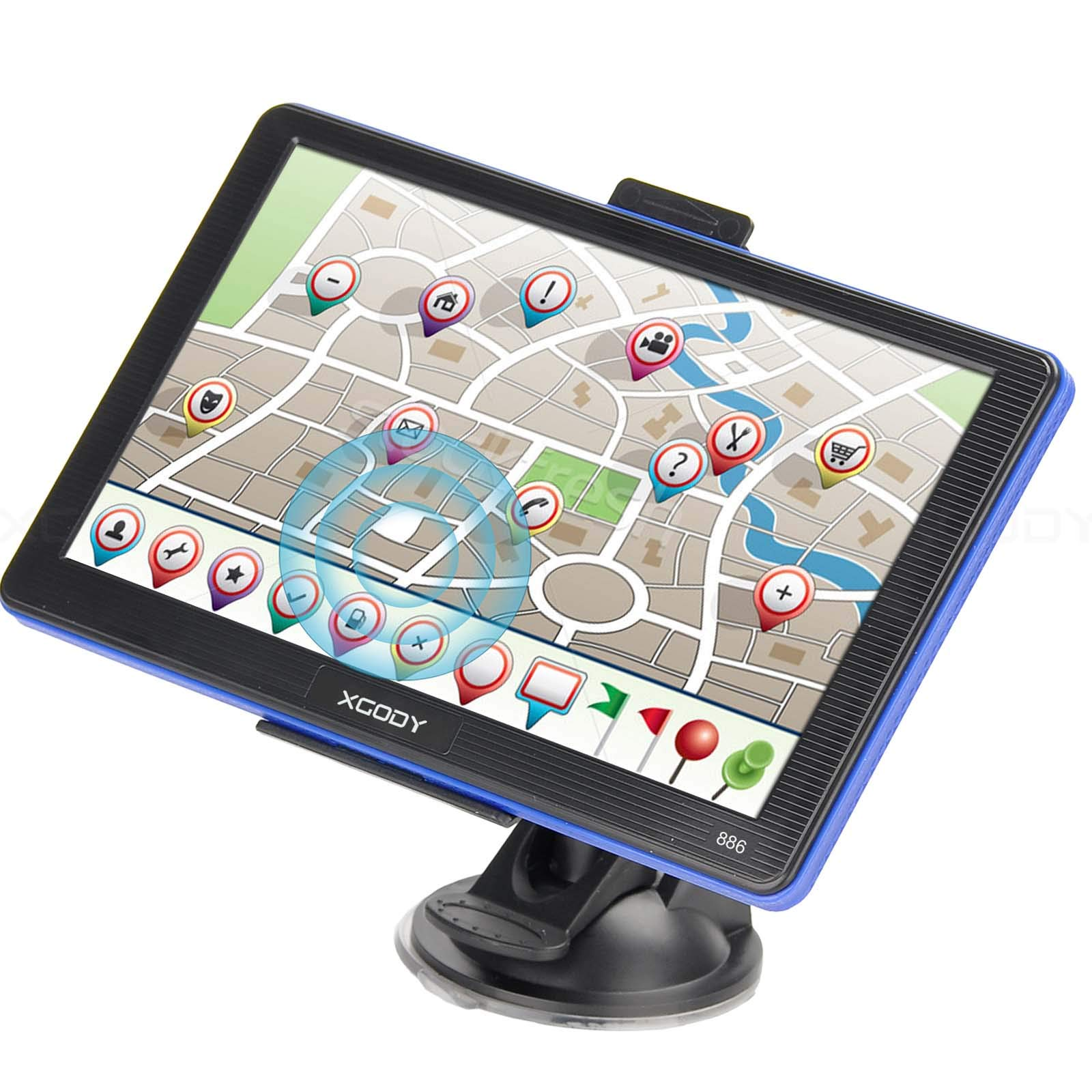 Truck GPS Navigation System Xgody 886 7 Inch Capacitive Touch Screen SAT NAV Navigator for Car with Lifetime US Maps Updated Sunshade Support Speed and Red light Warning by XGODY