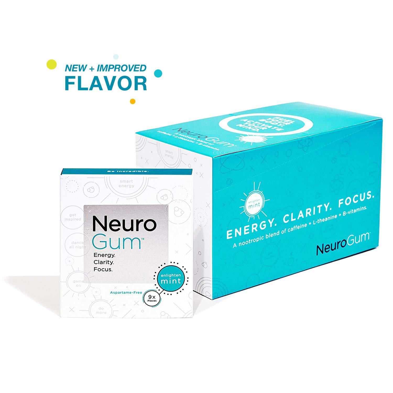 NeuroGum Nootropic Energy Gum | Caffeine + L-theanine + B Vitamins | Sugar Free + Gluten Free + Non GMO + Vegan | Enlighten Mint Flavor (108 Count)