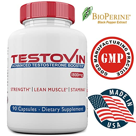 Amazon.com: Testovin-Best Testosterone Booster For Men –New Natural Pills– Increased Stamina,Strength, Energy -Estrogen Blocker- Test Stack with ZMA,Tongkat ...