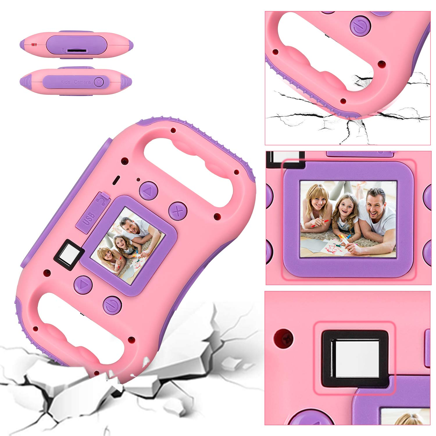 AGM Kids Camera for Girls & Boys, 1.77Inch Children Video Recorder Toddler Digital Camera,Creative Birthday Children's Day Gifts (Pink) by AGM (Image #2)