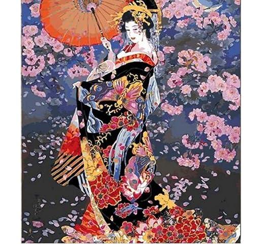 Traje japonés kimono belleza pintura por números lienzo pintado a ...