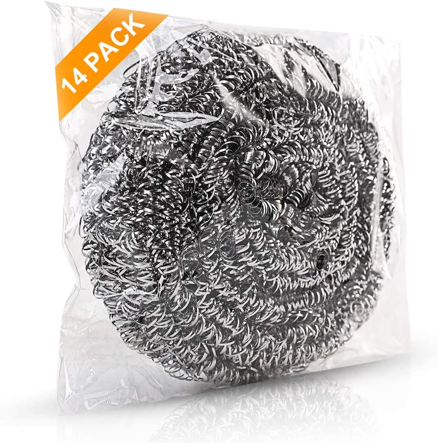 14Pack Upgraded Steel Wool Scrubbers by ovwo - Premium Stainless Steel Scrubber, Metal Scouring Pads, Steel Wool Pads, Kitchen Cleaner, Heavy Duty Cleaning Supplies - Especially for Tough Cleaning