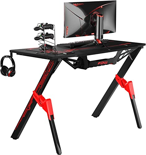 Gaming Desk Computer Desk 44 inches Ofiice Desk Racing Style Writing Desk Carbon Fiber Simple Student PC Desk Extra Large Modern Ergonomic Table Workstation