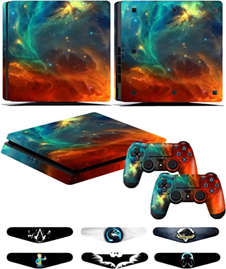 Skins Stickers for PS4 Slim Controller - Decals for Playstation 4 Slim Games - Cover for PS4 Slim Console Sony Playstation Four Accessories with Dualshock 4 Two Controllers Skin - Gree Fire: Amazon.es: Videojuegos