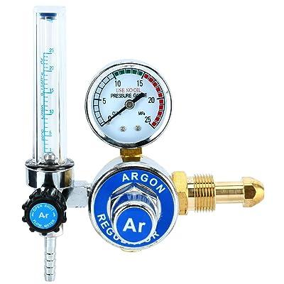 Argon Regulator With Flowmeter TIG Welder MIG Welding CO2 Regulator 0 to 25 L/MIN - 0 to 25 MPA Pressure Gauge CGA580 Inlet Connection Gas Welder Welding Regulator with Built-In Flow Meter