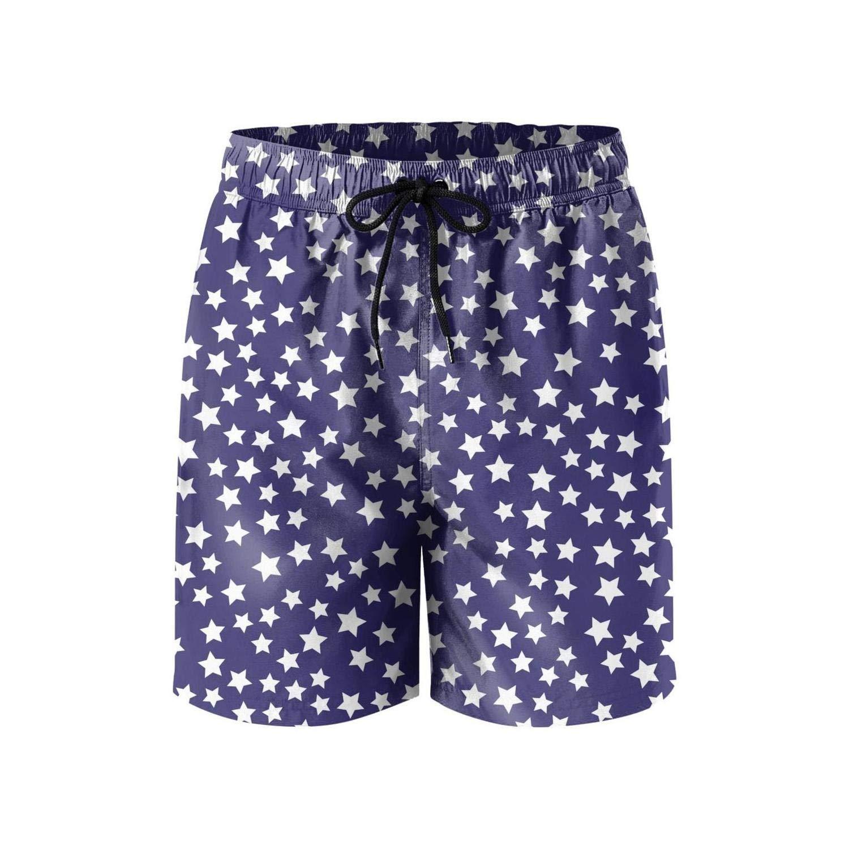 LONGSHIA Stars and Strips Pattern Mesh Lining Mens Quick Dry Beach Shorts Swim Trunks Fitness