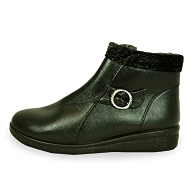 da485307527 New Womens Ankle Boots Ladies Fur Top Mid Wedge Heel Black Pu Shoes Size UK  3-8  Amazon.co.uk  Shoes   Bags