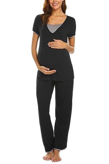 Ekouaer Women Soft Layered Maternity & Nursing Pajama Set Cotton Hospital PJS Set Pregnancy Breastfeeding Sleepwear(S-XXL) at Amazon Womens Clothing store: