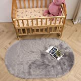 LEEVAN Super Soft Round Rug Faux Fur Wool Oval