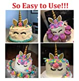 Palksky Handmade Gold Unicorn Birthday Cake Toppers